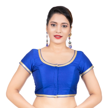 Dupion Silk Royal Blue Short Sleeves Golden Lace Border Readymade blouse