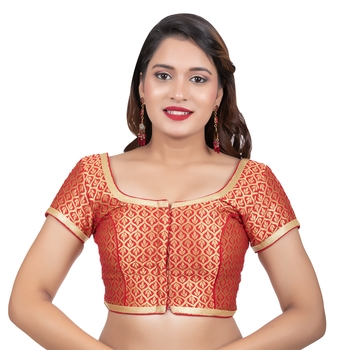 Red Brocade Short Sleeves Readymade blouse
