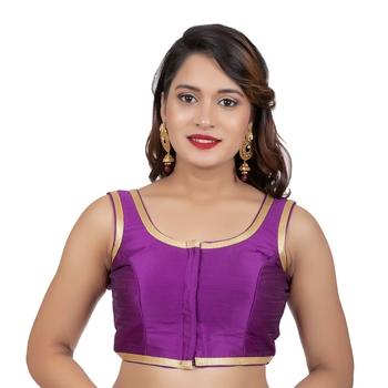 Purple Plain Dupion Silk Golden Lace Sleeveless Readymade blouse