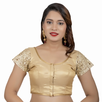 Golden Brocade Short Sleeves Cutwork Lace Work Stone Work Readymade blouse
