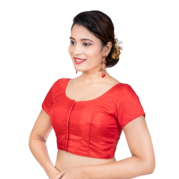 Red Banglori Silk Plain Short Sleeves Readymade blouse
