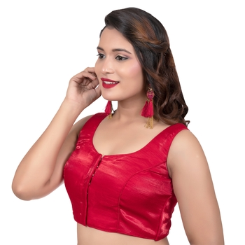 Party Wear Dupion Silk Red Plain Sleeveless Readymade blouse