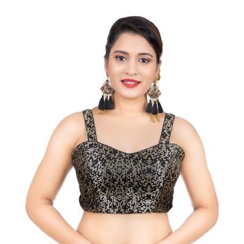 Brocade Black Paghetti Strap Sleeveless Readymade blouse