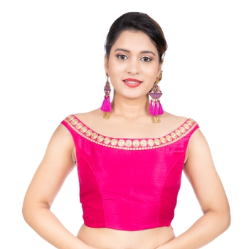 Pink Blue Boat Neck Dupion Silk Off Shoulder Sleeveless Side Zipper Readymade blouse
