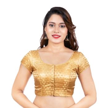 Desginer Brocade Leaf Desgin Round Neck Dark Gold Short Sleeves Readymade blouse