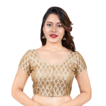 Desginer Brocade Wedding Off White Short Sleeves Readymade blouse