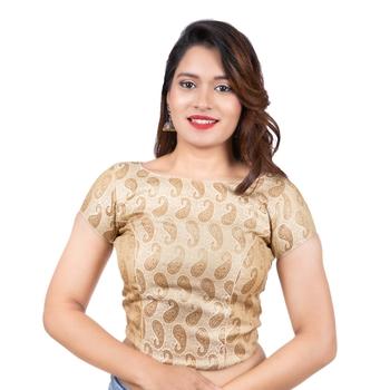 Brocade Desginer Cream Short Sleeves Back Open Full Zipper Readymade Long blouse