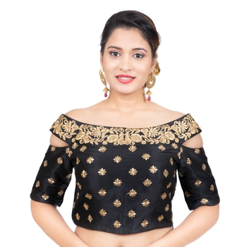 Black Cotton Silk Boat Neck Off Shoulder Cold Shoulder Elbow Sleeves Readymade blouse