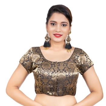 Brocade Black Short Sleeves Readymade blouse