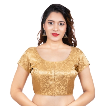 Brocade Gold Short Sleeves Readymade blouse