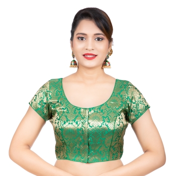 Brocade Green Short Sleeves Readymade blouse