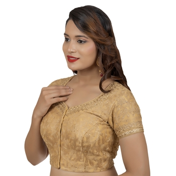Emboridered Gold Round Neck Short Sleeves Readymade blouse
