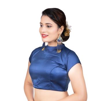 Navy Blue Desginer High Neck Dupion Silk Short Sleeves Back Open Full Zipper Readymade blouse