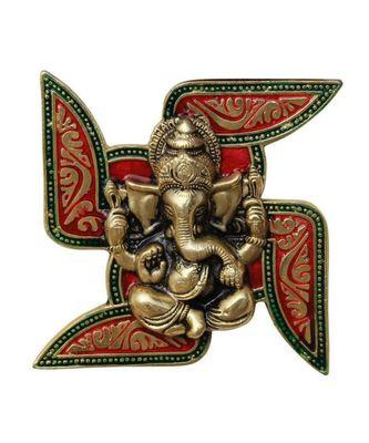 Ganesha Placed on Swastik Aluminium Metal Wall Hanging