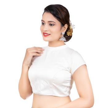 White Desginer High Neck Dupion Silk Short Sleeves Back Open Full Zipper Readymade blouse