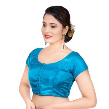Banglori Silk Sky Blue Plain Short Sleeves Readymade blouse
