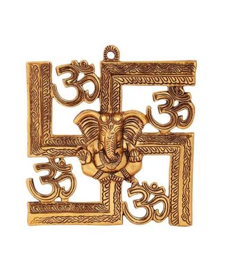 Swastik with Om and Ganesh Motiff Aluminium Wall Hanging