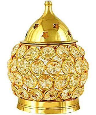 Crystal Akhand Diya for Puja – Brass Decorative Items Oil Lamp Tea Light Holder Lantern Oval Shape