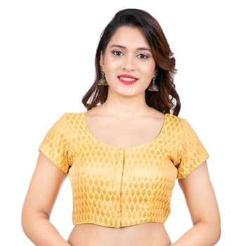Brocade Yellow Short Sleeves Readymade blouse