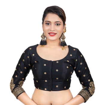 Dupion Silk Black Embroidered 3/4 Sleeves Readymade blouse