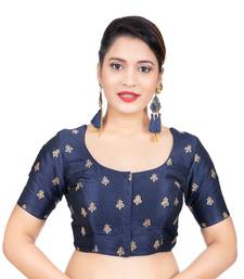 Navy Blue Dupion Silk Embroidered Elbow Sleeves Readymade blouse
