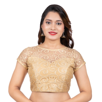 Gold High Neck Dupion Silk Full Net Short Sleeves Back Open Readymade blouse