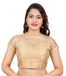 Gold High Neck Dupion Silk Full Net Short Sleeves Back Open Readymade blouse