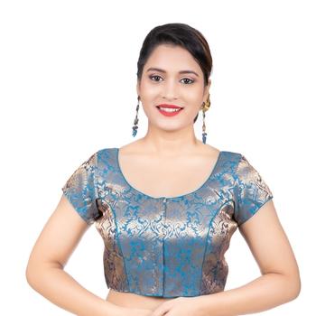 Brocade Firozi Short Sleeves Readymade blouse