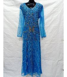 Sky Blue Color Hand Embroidery Kaftan