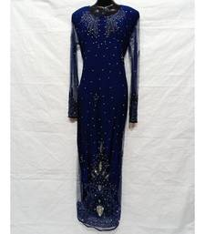 Navy Blue Color Hand Embroidery Kaftan