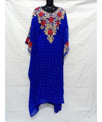 Blue  Color Hand Embroidery Kaftan