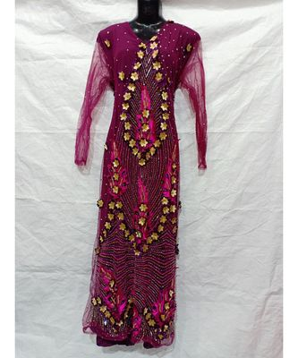 Magenta Color Hand Embroidery Kaftan