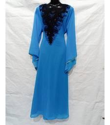 Sky Blue Color Hand Embroidery Kaftan