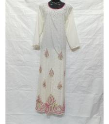 White Color Hand Embroidery Kaftan