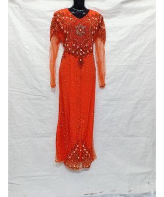 Orange Color Hand Embroidery Kaftan