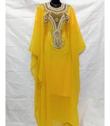 Yellow  Color Hand Embroidery Kaftan
