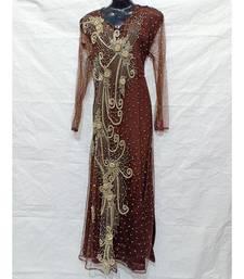 Brown Color Hand Embroidery Kaftan