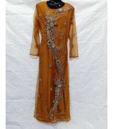 Mustard Color Hand Embroidery Kaftan
