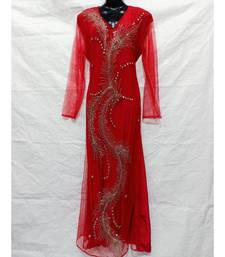 Red Color Hand Embroidery Kaftan