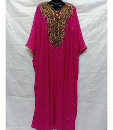 Pink  Color Hand Embroidery Kaftan