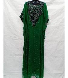 Green  Color Hand Embroidery Kaftan