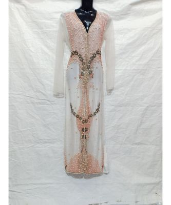 WHITE COLOR HAND EMBROIDERY KAFTAN