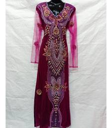 Magenta Color Hand Embroidery Kaftan
