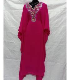 Pink  Color Hand Embroidery Kaftan