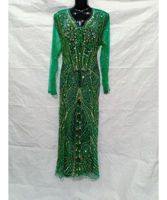 Green  Color Hand Embroidery Kaftan