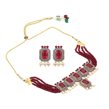 Royal Ruby Pink Cubic Zirconia Necklace Sets