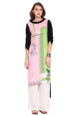 Baby-pink printed faux polyester salwar