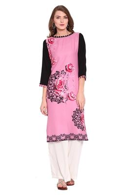 Pink printed faux polyester salwar