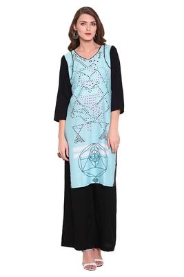 Sky-blue printed faux polyester salwar