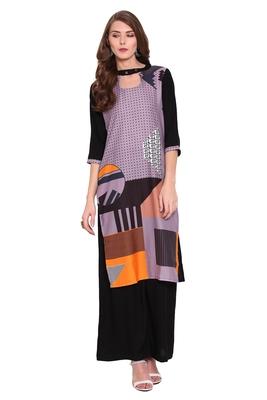 Purple printed faux polyester salwar